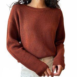 Aritzia Wilfred Free Isabelli Crew Neck Sweater Rust Merino Wool Sz XS